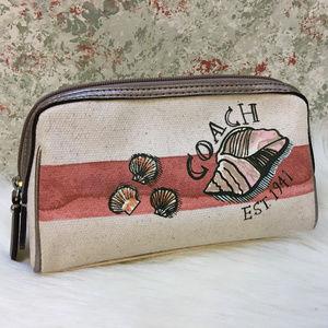 COACH Resort Collection Canvas SEASHELL Makeup Bag